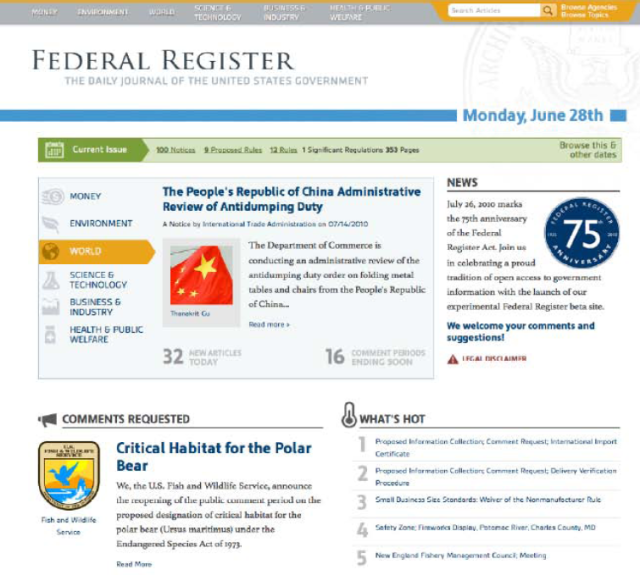 Screen Shot of Federal Register 2.0