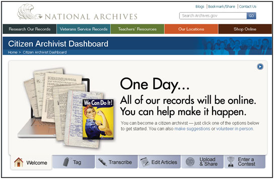 Citizen Archivist Dashboard Screen Shot