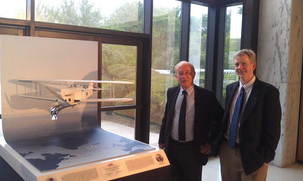 Bernard Decre with plane model at French Embassy