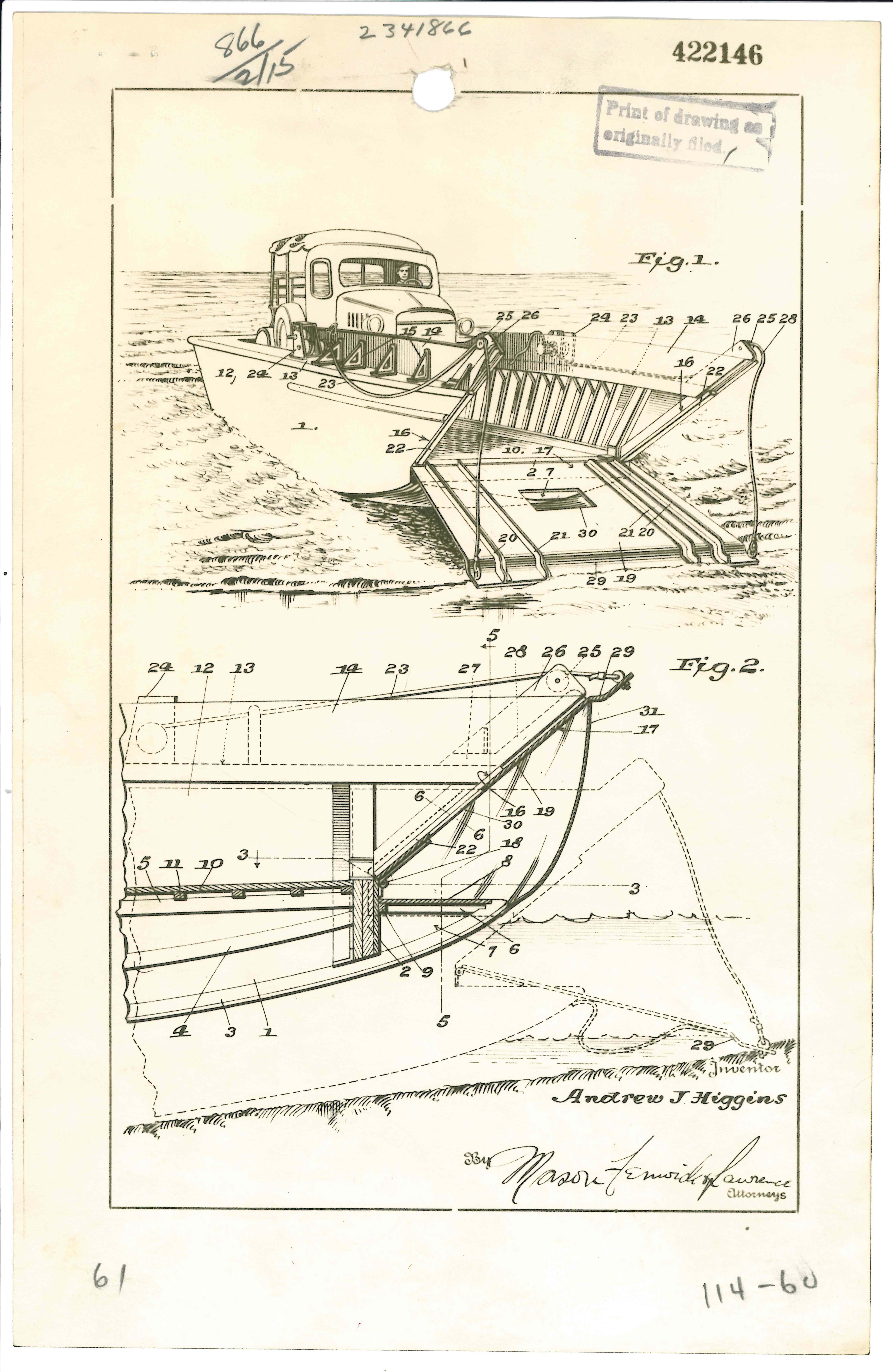 higgins boat patent drawing