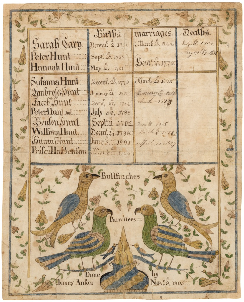 Fraktur, Peter Hunt, Connecticut and New York