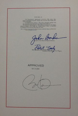 HR 1233 signature page
