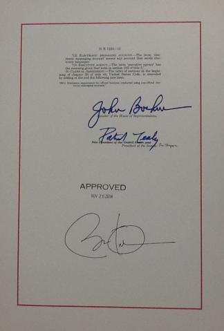 HR 1233 signature page