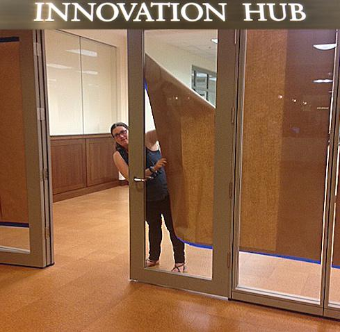 Our Innovation Hub Coordinator, Dina Herbert, on opening day.