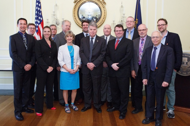 Members of the 2014-2016 Freedom of Information Act (FOIA) Advisory Committee. From left to right: James Holzer, Mark Zaid, Ginger McCall (forner member), Brent Evitt, Larry Gottesman, Melanie Pustay, Nate Jones, David Ferriero, Lee White, Sean Moulton, Marty Michalosky, Jim Hogan, David Pritzker, Clay Johnston.