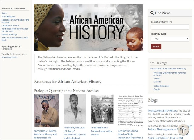 African American History webpage