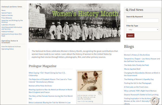 Women's History Month webpage