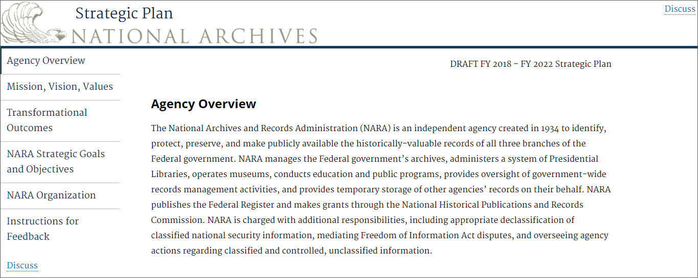 Draft National Archives Strategic Plan  Aotus