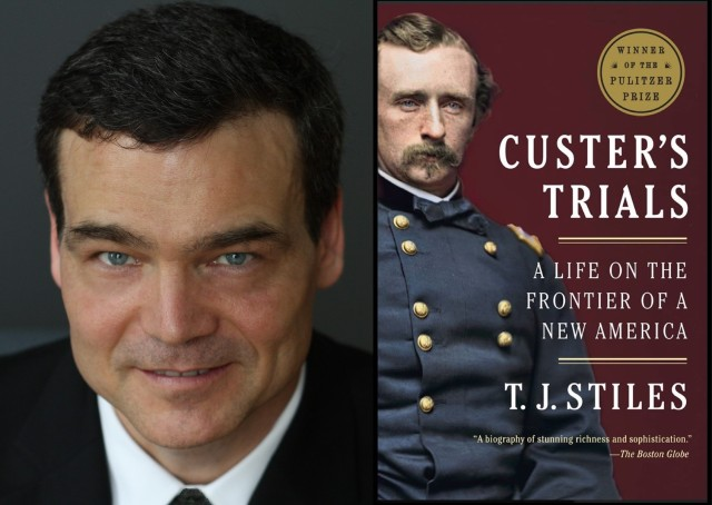 TJ Stiles photo with Custer's Trials book cover