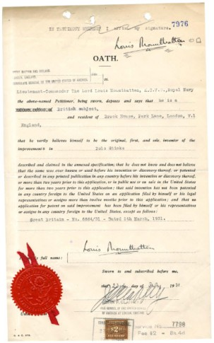 Patent application for a polo stick by Lord Louis Mountbatten, filed August 6, 1931 Records of the Patent and Trademark Office, National Archives and Records Administration