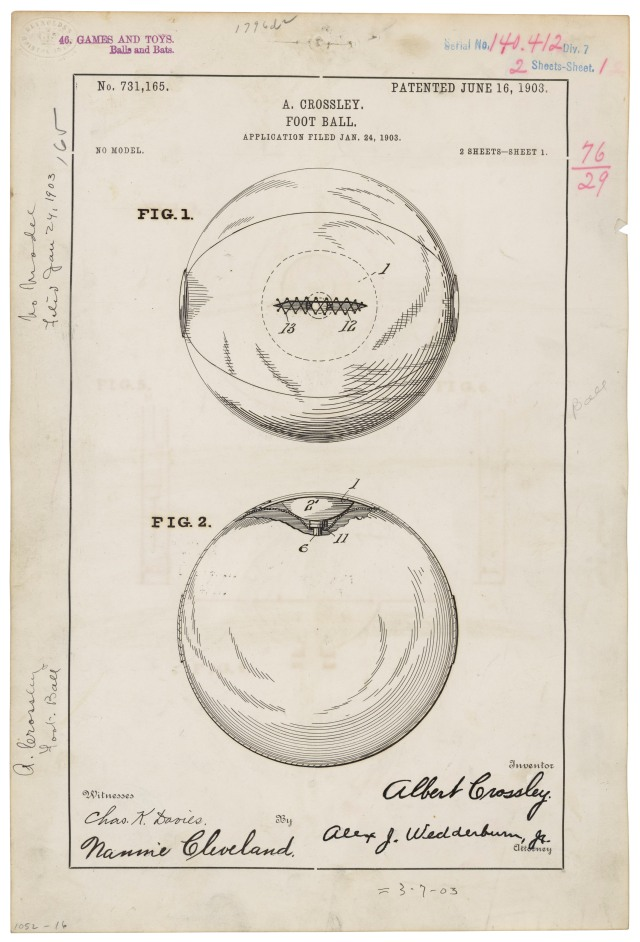 Football patent, June 16, 1903.