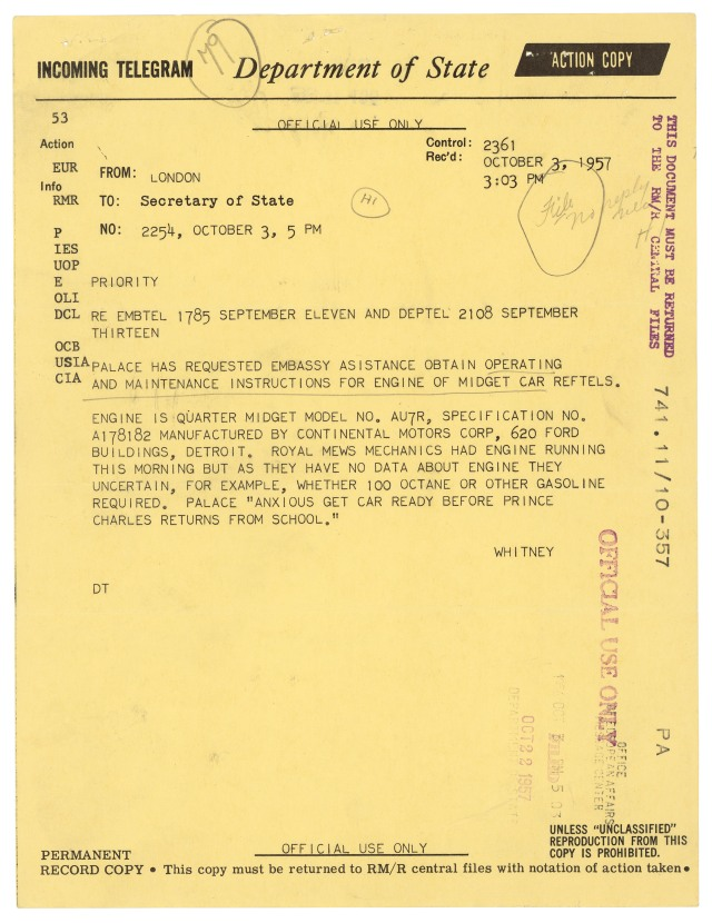 Telegram from U.S. Embassy in London to the Secretary of State, October 3, 1957